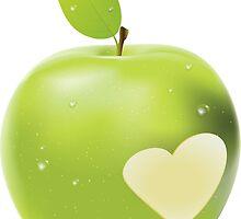 Heart bite green apple by AnnArtshock