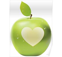 Heart bite green apple 2 Poster