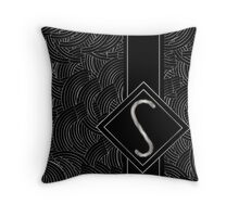 1920s Jazz Deco Swing Monogram black & silver letter S Throw Pillow