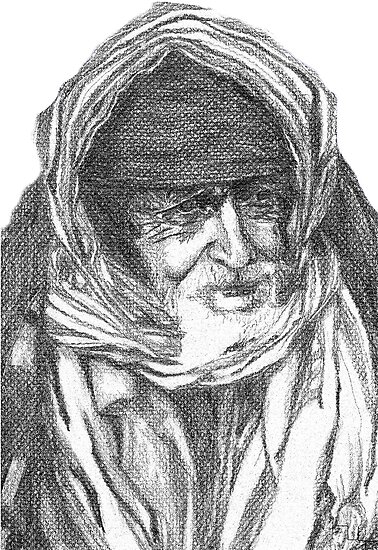 Old Yemeni pencil portrait  by Marilyns