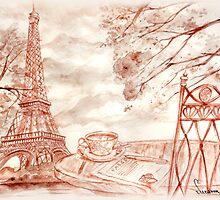 Paris Eiffel Tower watercolor drawing by Suzanna Orlova