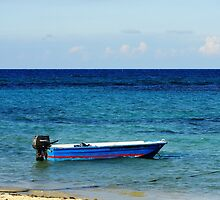 Blue Boat with red stripe in the ocean by gurso27