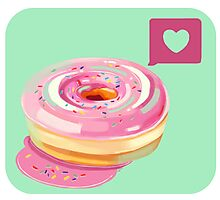 Pink Frosted Heart Donut Photographic Print
