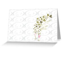 Pink Wedding Champagne Cheers Greeting Card