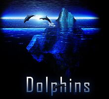 Dolphins Jumping Out of Ocean by an Iceberg by Rob Davies