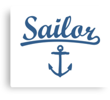 Sailor Anchor Navy Canvas Print