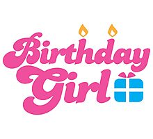 Birthday girl with cute little present Photographic Print