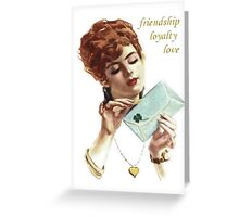Beautiful Young Woman Holding Love Letter Vintage Vector Greeting Card