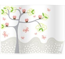 Cupcakes Tree Poster