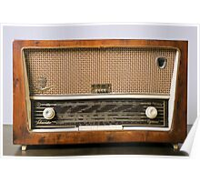 retro Schneider SW radio receiver on white background Poster