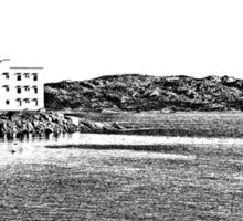 Island La Maddalena: sea landscape buildings and boats Sticker