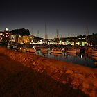 Night Lights On the harbour by Steven Maynard