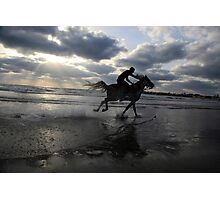 Silhouette of a man riding a horse on the beach  Photographic Print