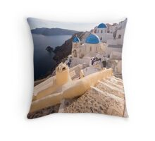 At the steps of Oia Throw Pillow