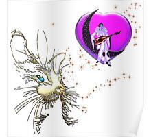 Valentine's Day Pierrot Moon Cat Poster