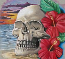 skull with hibiscus by DANSONN