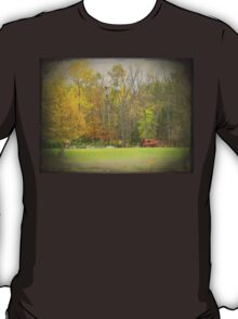 Old Time Farm Scene Tractors and Windmill T-Shirt