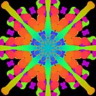 Orange Kaleidoscope With Blue And Green On Black by ARTOFAMY