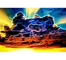 Funky Glowing Electrified Rainbow Clouds Abstract Photographic Print