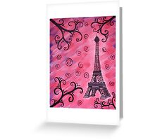 Eiffel Tower in Pink Greeting Card