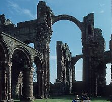 Students at work in Cathedral Church Ruins Holy Isle Lindisfarne Northumbria England 198405290024  by Fred Mitchell