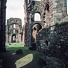 Looking through Ruined Crossing from near altar Monastery church Holy Isle Lindisfarne Northumbria England 198405290030  by Fred Mitchell