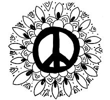 Hippie Peace Sign Mandala Photographic Print