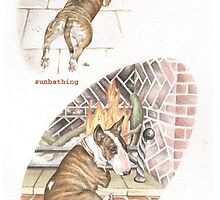 W IS FOR WARMTH From A Bull Terrier's Alphabet. by threebrownhares