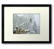 Working In Spite Of The Storm Framed Print