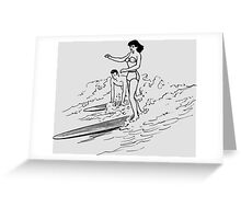 Couple - Girl - Vintage surfing in Hawaii.  Greeting Card