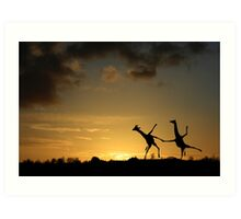 Happy Dancing Giraffes Art Print