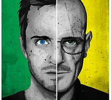Breaking Bad Split Face Walter and Jesse Poster Yellow by lynxcollection