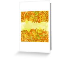 Hand drawn orange design with leaves Greeting Card