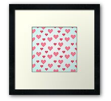 Abstract 8-bit pink and blue heart pattern Framed Print