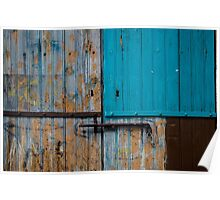 Weathered wooden door multicolored Poster