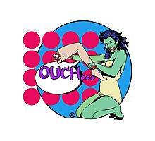 Zombie Pop Art Girl Leg ouch Photographic Print