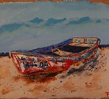 THE OLD BOAT IN PROGRESSO by Terri Holland