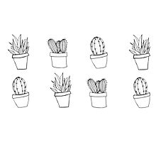 Minimal Cactus Print - Hand Drawn by elliegillard