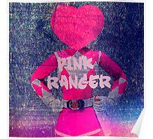 pink power ranger heart head Poster