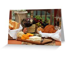 Wine Cheese and Bread Greeting Card