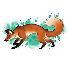 Red Fox Romp [Splatter] Photographic Print