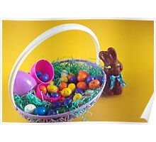 Chocolate Bunny & Easter Basket Poster