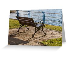 bench on the lake Greeting Card