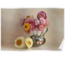 Everlasting flowers in a vase   Poster