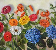 Zinnias, Tiger Lilies, Hydrangeas by Randy  Burns