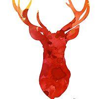 Abstract deer antlers silhouette watercolor paintng by Joanna Szmerdt