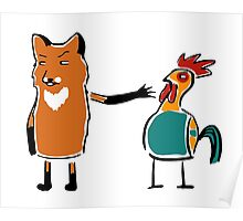 Sinister fox and suspicion rooster Poster