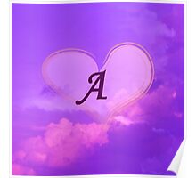 Pink Heart with Monogram A Poster