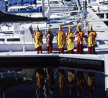 Tibetan Monks Pray at Newcastle Harbour by smithrankenART