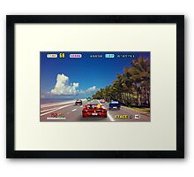 Outrun retro pixel art Framed Print